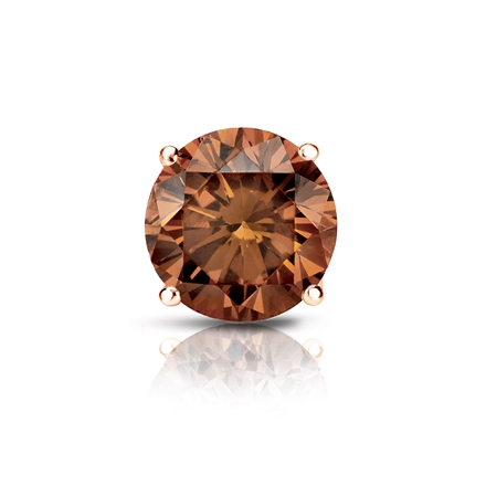 Certified 14k Rose Gold 4-Prong Basket Round Brown Diamond Single Stud Earring 1.00 ct. tw. (Brown, SI1-SI2)