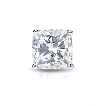 Certified 18k White Gold 4-Prong Basket Cushion Cut Diamond Single Stud Earring 1.00 ct. tw. (G-H, VS1-VS2)