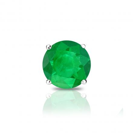 14k White Gold 4-Prong Basket Round Green Emerald Gemstone Single Stud Earring 0.25 ct. tw.