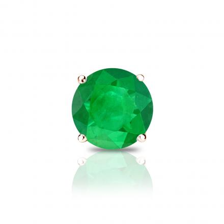 14k Rose Gold 4-Prong Basket Round Green Emerald Gemstone Single Stud Earring 0.25 ct. tw.