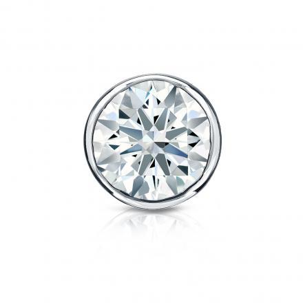 Certified Platinum Bezel Hearts & Arrows Diamond Single Stud Earring 1.00 ct. tw. (H-I, I1-I2)