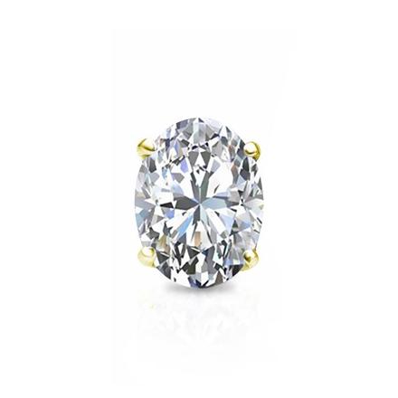 f30040bbb Certified 14k Yellow Gold 4-Prong Basket Oval Diamond Single Stud Earring  0.75 ct. tw. (I-J, I1-I2) - DiamondStuds.com
