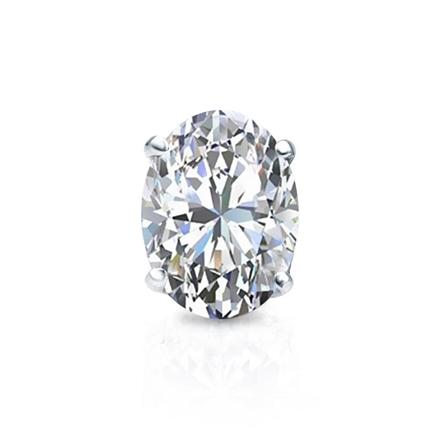 Certified 18k White Gold 4-Prong Basket Oval Diamond Single Stud Earring 1.00 ct. tw. (I-J, I1-I2)