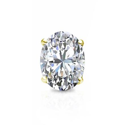 e67007662 Certified 18k Yellow Gold 4-Prong Basket Oval Diamond Single Stud Earring  1.00 ct. tw. (H-I, SI1-SI2) - DiamondStuds.com