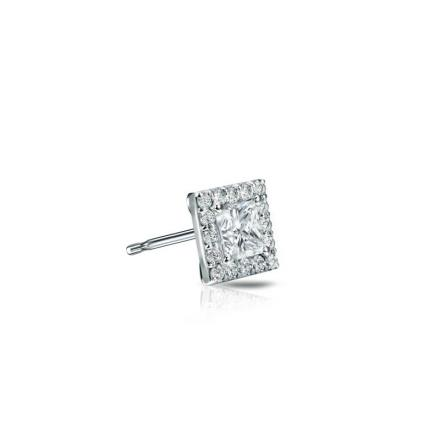 Certified 14k White Gold Halo Princess-Cut SINGLE Diamond Stud Earrings 0.25 ct. tw. (G-H, VS2)