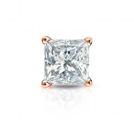 Certified 14k Rose Gold 4-Prong Basket Princess-Cut Diamond Single Stud Earring 1.50 ct. tw. (H-I, SI2)