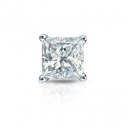 Certified 14k White Gold 4-Prong Basket Princess-Cut Diamond Single Stud Earring 1.50 ct. tw. (G-H, VS2)
