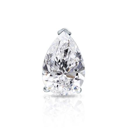 Certified 18k White Gold V-End Prong Pear Shape Diamond Single Stud Earring 1.00 ct. tw. (G-H, VS1-VS2)
