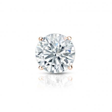 806e220fe2a EGL USA Certified Round Diamond Single Stud Earring in 14k Rose Gold  4-Prong Basket