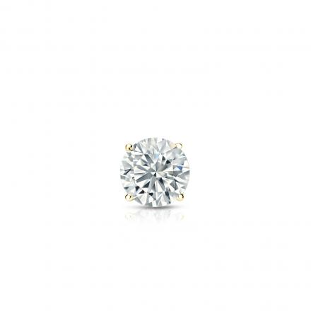 Certified 18k Yellow Gold 4 G Basket Round Diamond Single Stud Earring 0 17 Ct