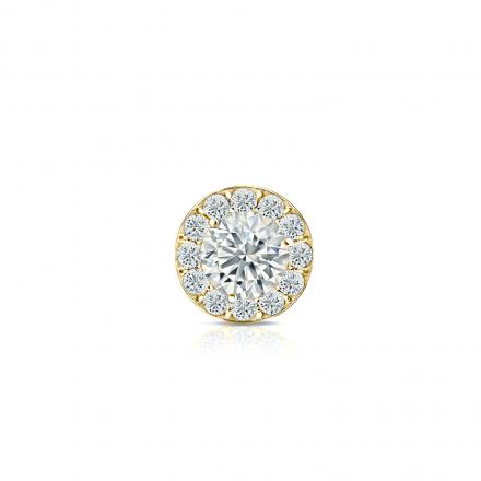 18k Yellow Gold Halo Round Diamond Single Stud Earrings 0.50 ct. tw. (G-H, VS2)