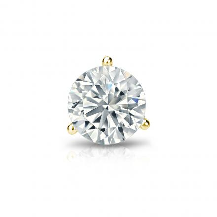 Certified 14k Yellow Gold 3 G Martini Round Diamond Single Stud Earring 0 63 Ct
