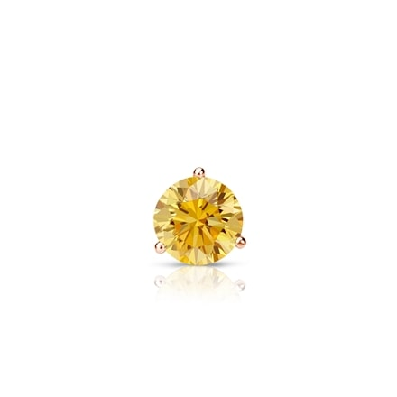 Certified 14k Rose Gold 3-Prong Martini Round Yellow Diamond Single Stud Earring 0.17 ct. tw. (Yellow, SI1-SI2)
