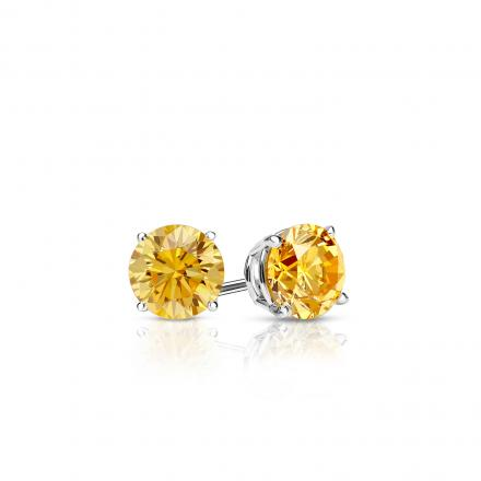 Certified Platinum 4-Prong Basket Round Yellow Diamond Stud Earrings 0.25 ct. tw. (Yellow, SI1-SI2)