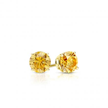 Certified 18k Yellow Gold 4-Prong Basket Round Yellow Diamond Stud Earrings 0.25 ct. tw. (Yellow, SI1-SI2)