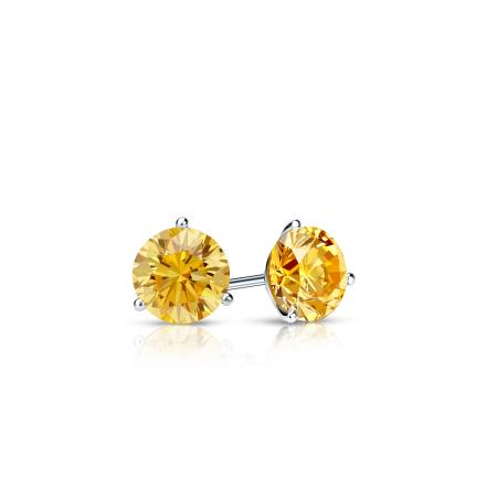 Certified Platinum 3-Prong Martini Round Yellow Diamond Stud Earrings 0.25 ct. tw. (Yellow, SI1-SI2)