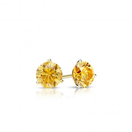 Certified 18k Yellow Gold 3-Prong Martini Round Yellow Diamond Stud Earrings 0.25 ct. tw. (Yellow, SI1-SI2)