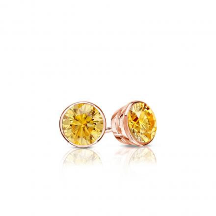 Certified 14k Rose Gold Bezel Round Yellow Diamond Stud Earrings 0.25 ct. tw. (Yellow, SI1-SI2)