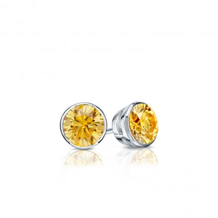 Certified 18k White Gold Bezel Round Yellow Diamond Stud Earrings 0.25 ct. tw. (Yellow, SI1-SI2)