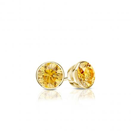 Certified 18k Yellow Gold Bezel Round Yellow Diamond Stud Earrings 0.25 ct. tw. (Yellow, SI1-SI2)