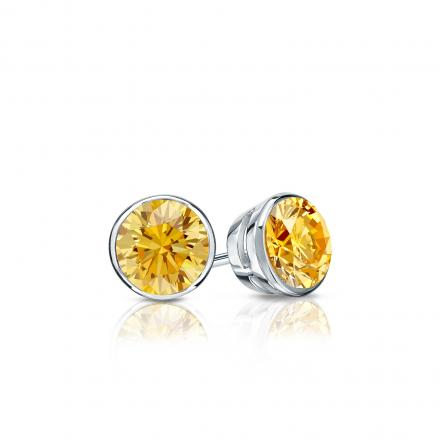 Certified Platinum Bezel Round Yellow Diamond Stud Earrings 0.33 ct. tw. (Yellow, SI1-SI2)