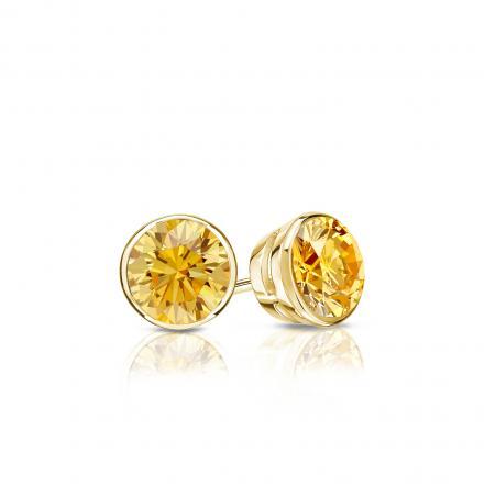 Certified 14k Yellow Gold Bezel Round Yellow Diamond Stud Earrings 0.33 ct. tw. (Yellow, SI1-SI2)