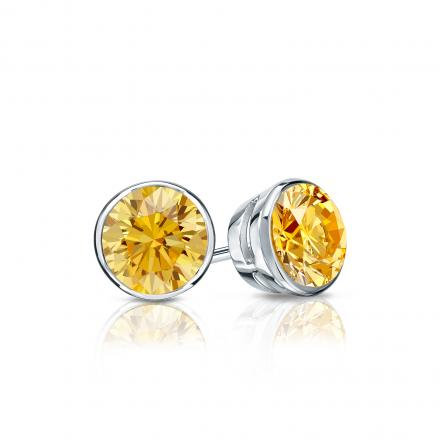 Certified 14k White Gold Bezel Round Yellow Diamond Stud Earrings 0.50 ct. tw. (Yellow, SI1-SI2)