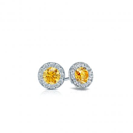 Certified 18k White Gold Halo Round Yellow Diamond Stud Earrings 0 50 Ct Tw