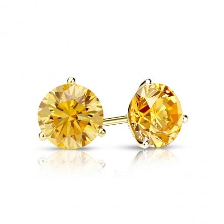 Certified 18k Yellow Gold 3-Prong Martini Round Yellow Diamond Stud Earrings 0.75 ct. tw. (Yellow, SI1-SI2)