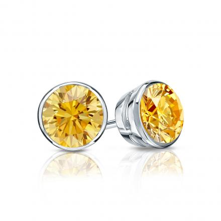 Certified Platinum Bezel Round Yellow Diamond Stud Earrings 0.75 ct. tw. (Yellow, SI1-SI2)