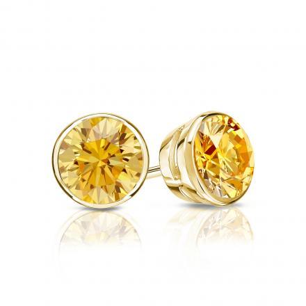 Certified 18k Yellow Gold Bezel Round Yellow Diamond Stud Earrings 0.75 ct. tw. (Yellow, SI1-SI2)