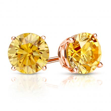Certified 14k Rose Gold 4 G Basket Round Yellow Diamond Stud Earrings 1 50 Ct Tw Si1 Si2