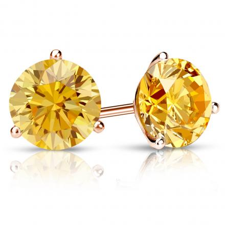 Certified 14k Rose Gold 3-Prong Martini Round Yellow Diamond Stud Earrings 2.00 ct. tw. (Yellow, SI1-SI2)