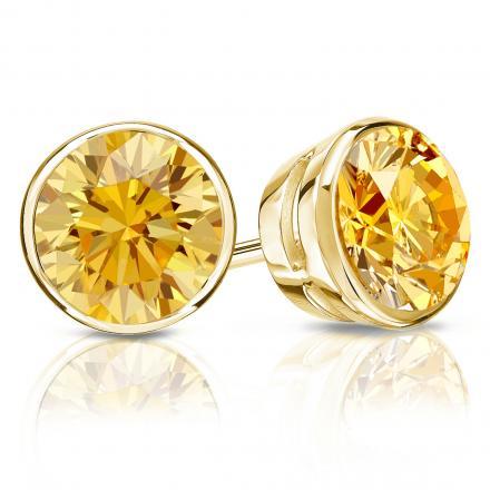 Certified 14k Yellow Gold Bezel Round Yellow Diamond Stud Earrings 2.50 ct. tw. (Yellow, SI1-SI2)
