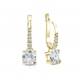 Certified 18k Yellow Gold Dangle Studs 4-Prong Basket Asscher Cut Diamond Earrings 1.50 ct. tw. (I-J, I1)