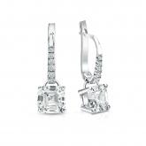 Certified 18k White Gold Dangle Studs 4-Prong Basket Asscher Cut Diamond Earrings 2.00 ct. tw. (H-I, SI1-SI2)