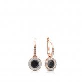 Certified 14k Rose Gold Dangle Studs Halo Round Black Diamond Stud Earrings 0.50 ct. tw.
