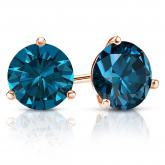 Certified 14k Rose Gold 3-Prong Martini Round Blue Diamond Stud Earrings 3.00 ct. tw. (Blue, I1-I2)