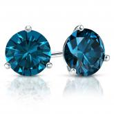 Certified 18k White Gold 3-Prong Martini Round Blue Diamond Stud Earrings 2.50 ct. tw. (Blue, SI1-SI2)