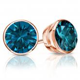 Certified 14k Rose Gold Bezel Round Blue Diamond Stud Earrings 2.00 ct. tw. (Blue, I1-I2)