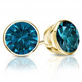 Certified 18k Yellow Gold Bezel Round Blue Diamond Stud Earrings 3.00 ct. tw. (Blue, I1-I2)