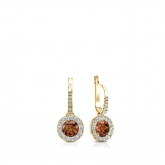 Certified 14k Yellow Gold Dangle Studs Halo Round Brown Diamond Earrings 0.50 ct. tw. (Brown, SI1-SI2)