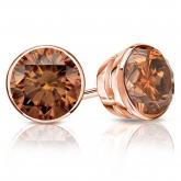Certified 14k Rose Gold Bezel Round Brown Diamond Stud Earrings 2.50 ct. tw. (Brown, SI1-SI2)