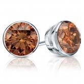 Certified Platinum Bezel Round Brown Diamond Stud Earrings 2.00 ct. tw. (Brown, SI1-SI2)