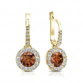 Certified 18k Yellow Gold Dangle Studs Halo Round Brown Diamond Earrings 2.00 ct. tw. (Brown, SI1-SI2)