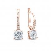 Certified 14k Rose Gold Dangle Studs 4-Prong Basket Cushion Cut Diamond Earrings 1.50 ct. tw. (I-J, I1)