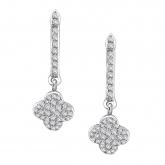 14k White Gold Pave-Set Round Cut Diamond Earring 0.33 ct. tw. (G-H, I1-I2)