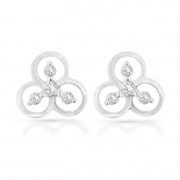 14k White Gold Diamond Accent Flower Shaped Fashion Earrings 0.25 ct. tw. (H-I, I1-I2)