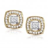 14k Two-Tone Round Cut Square Shaped Diamond Stud Earrings 0.20 ct. tw. (H-I, I1-I2)