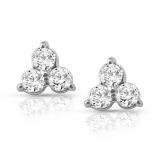 14k White Gold 3-Stone Round-Cut Diamond Earrings 0.50 ct. tw.(I-J, I1-I2)